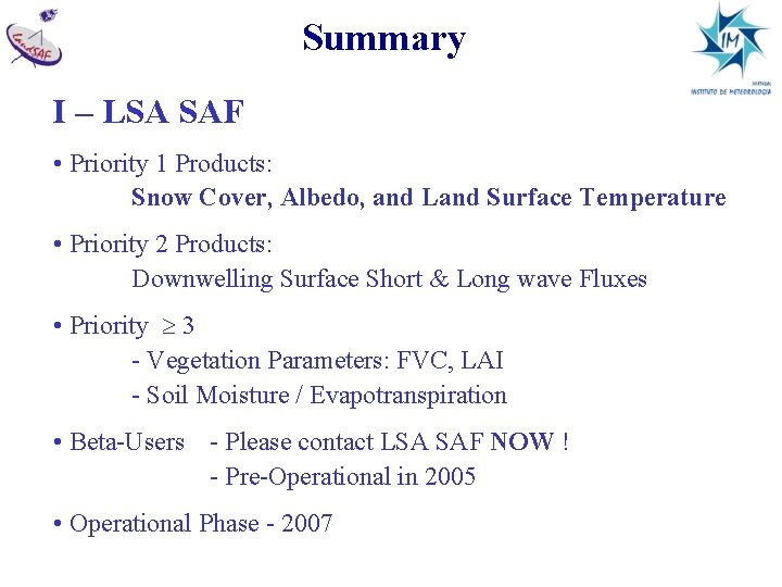 Summary I – LSA SAF • Priority 1 Products: Snow Cover, Albedo, and Land