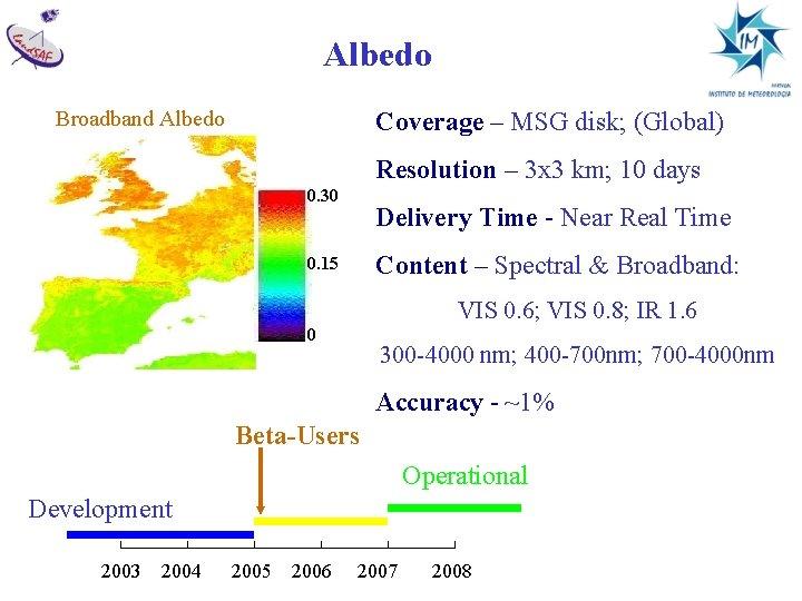 Albedo Broadband Albedo Coverage – MSG disk; (Global) Resolution – 3 x 3 km;