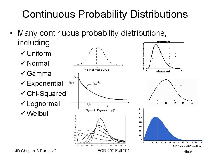 Continuous Probability Distributions • Many continuous probability distributions, including: ü Uniform ü Normal ü