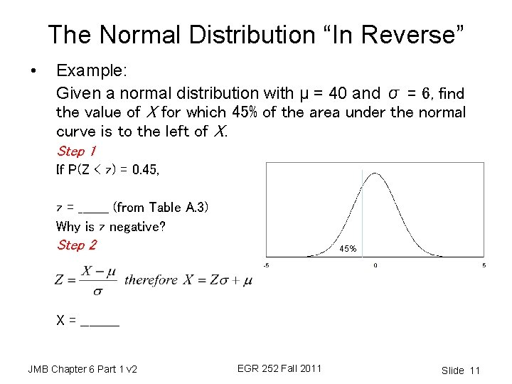 """The Normal Distribution """"In Reverse"""" • Example: Given a normal distribution with μ ="""