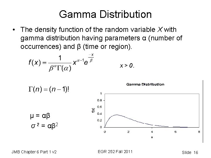Gamma Distribution • The density function of the random variable X with gamma distribution