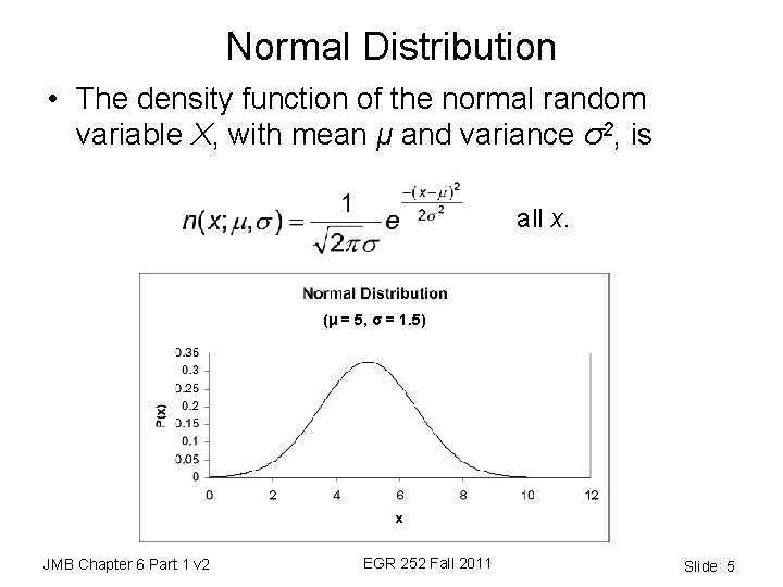 Normal Distribution • The density function of the normal random variable X, with mean
