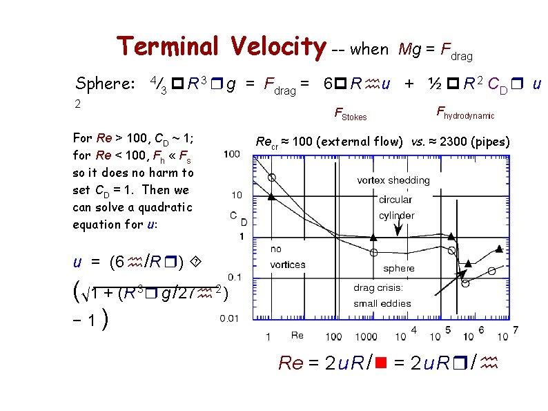 Terminal Velocity -- when Sphere: 4 Mg = Fdrag /3 p R 3 r