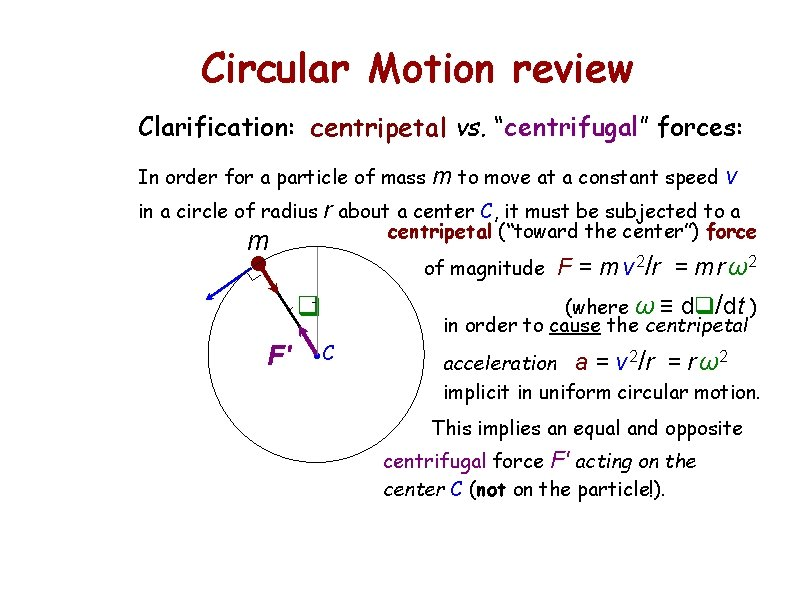 """Circular Motion review Clarification: centripetal vs. """"centrifugal"""" forces: In order for a particle of"""