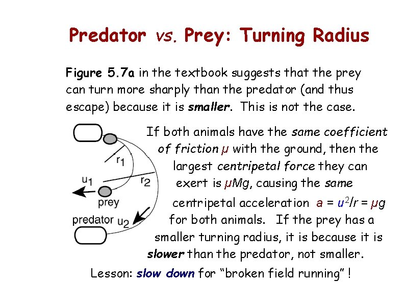 Predator vs. Prey: Turning Radius Figure 5. 7 a in the textbook suggests that