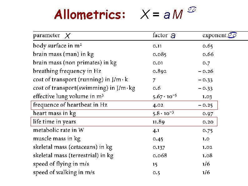 Allometrics: X X = a. M a a a