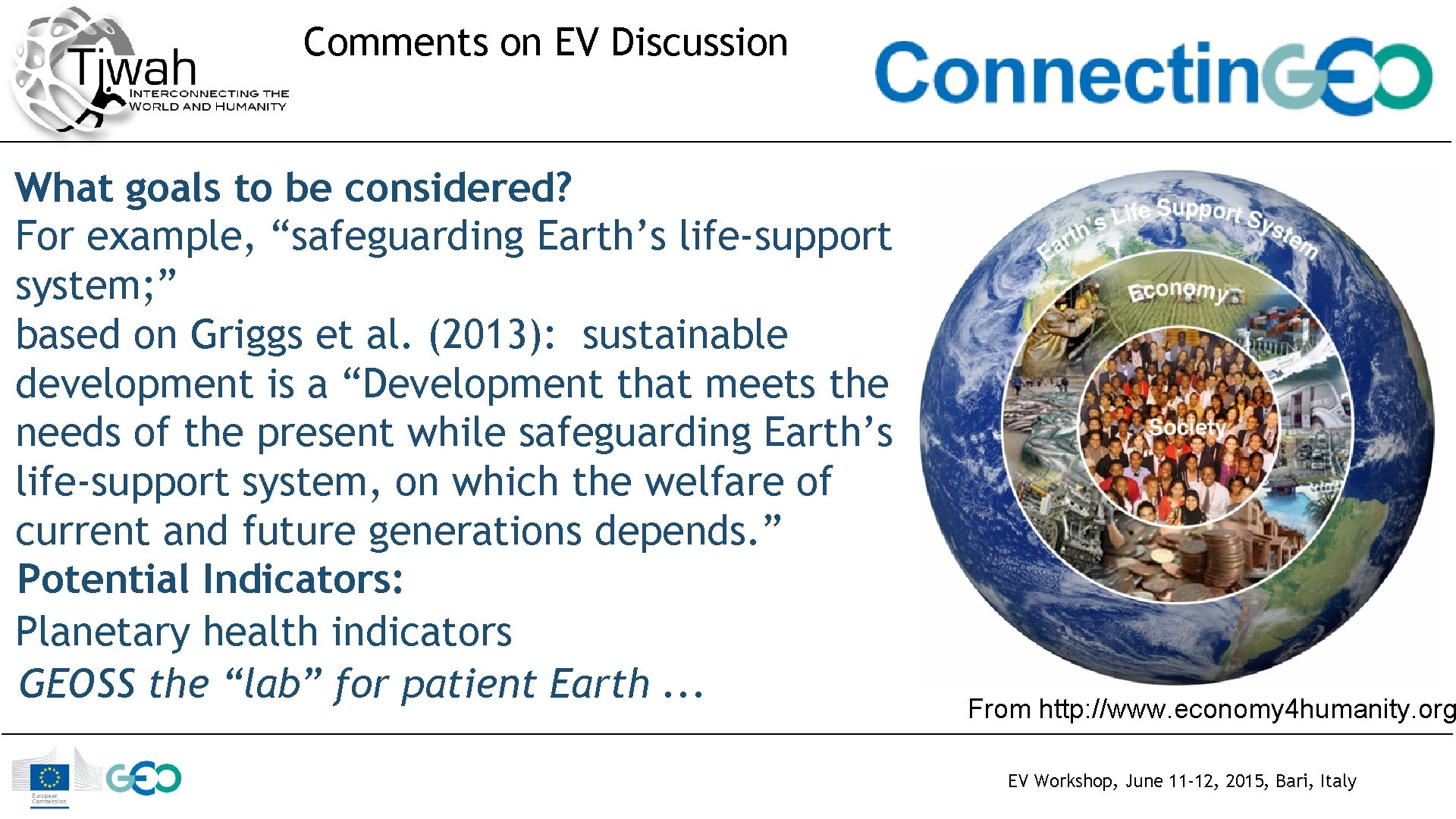 """Comments on EV Discussion What goals to be considered? For example, """"safeguarding Earth's life-support"""