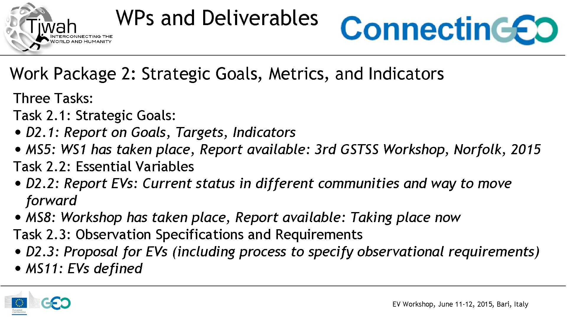 WPs and Deliverables Work Package 2: Strategic Goals, Metrics, and Indicators Three Tasks: Task