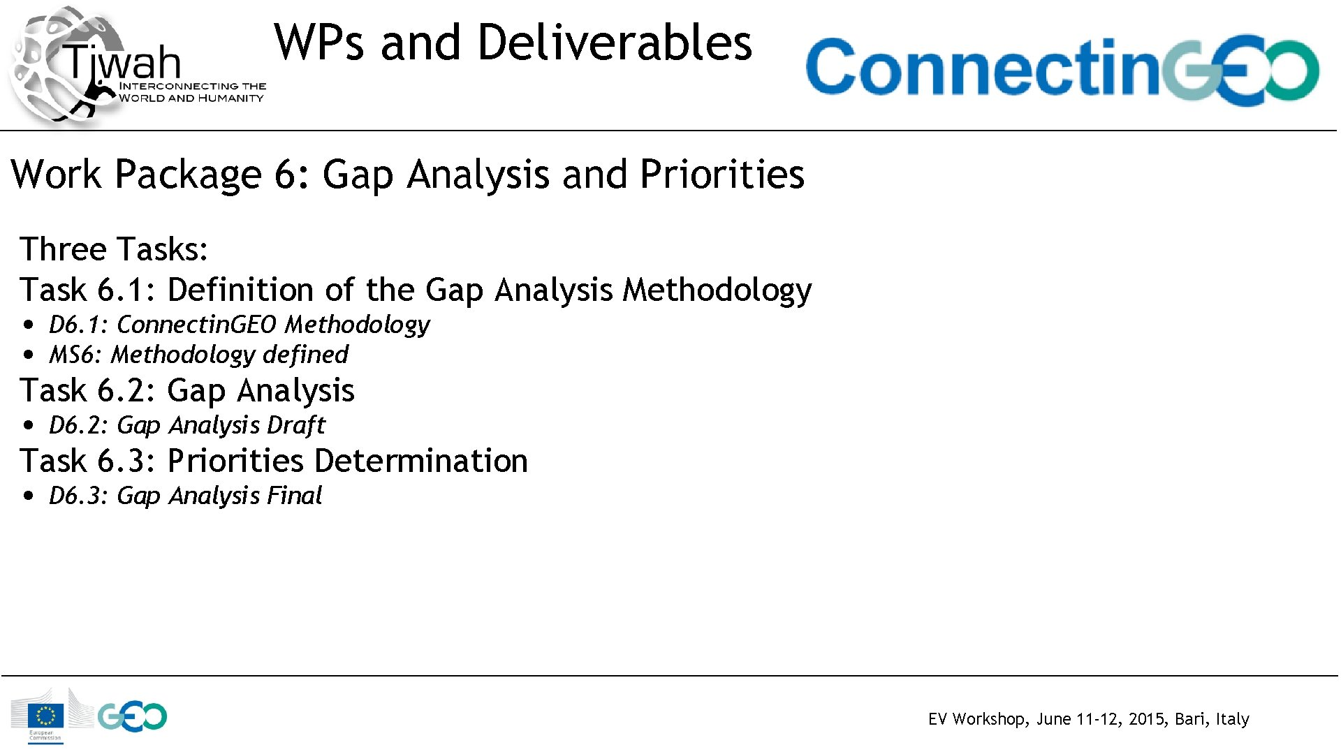 WPs and Deliverables Work Package 6: Gap Analysis and Priorities Three Tasks: Task 6.