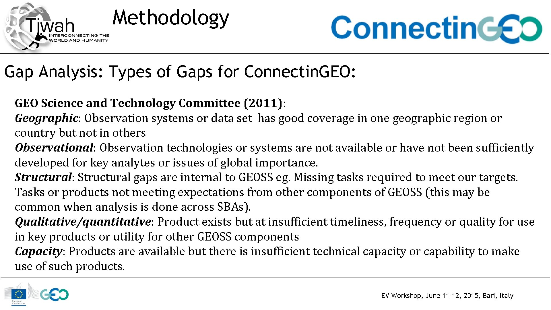 Methodology Gap Analysis: Types of Gaps for Connectin. GEO: GEO Science and Technology Committee