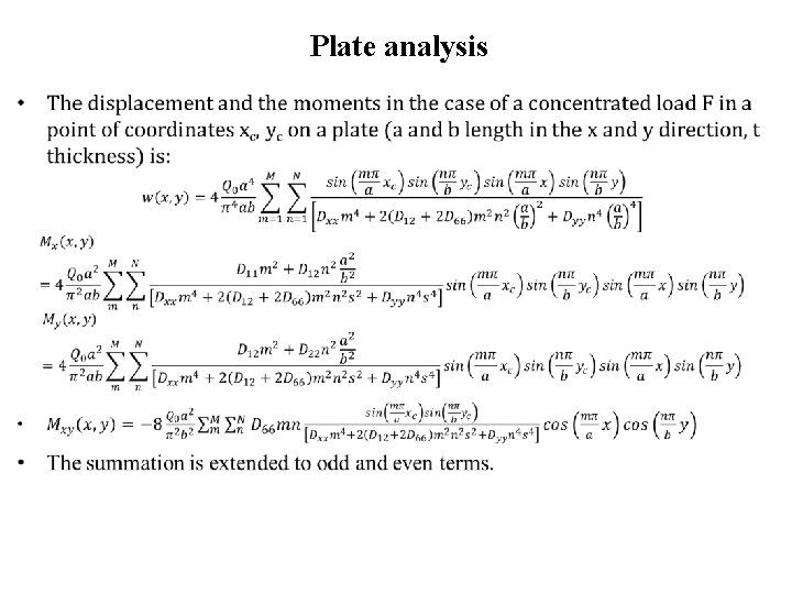 Plate analysis •