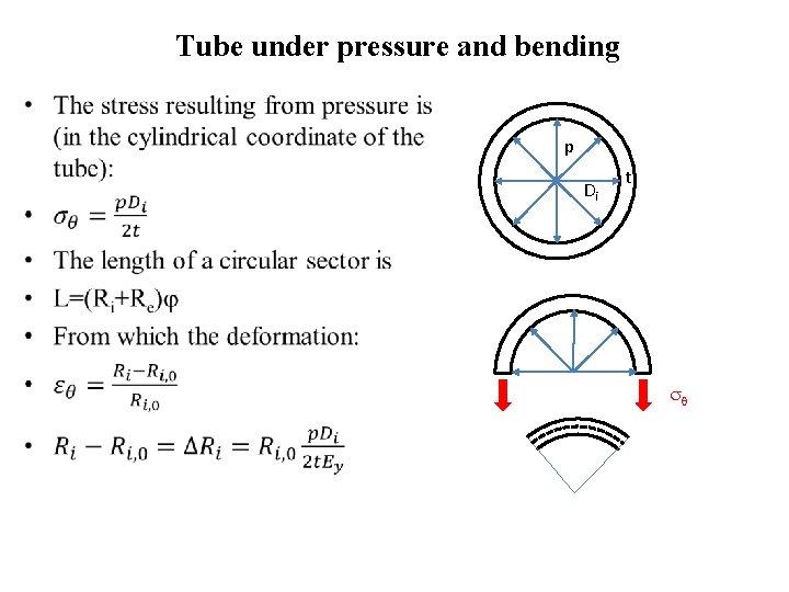 Tube under pressure and bending • p Di t