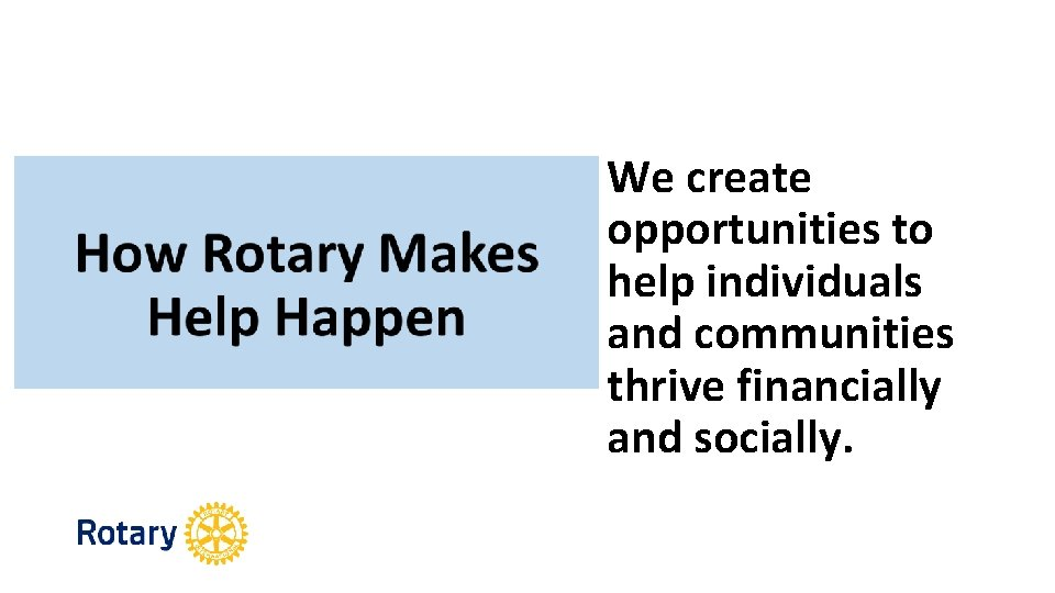 We create opportunities to help individuals and communities thrive financially and socially.
