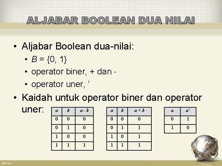 ALJABAR BOOLEAN DUA NILAI • Aljabar Boolean dua-nilai: • B = {0, 1} •