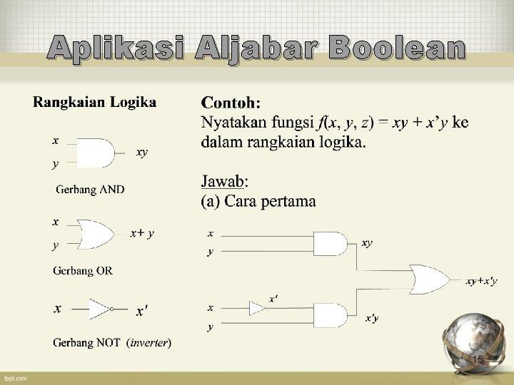 Aplikasi Aljabar Boolean 15