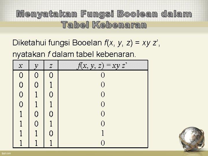 Menyatakan Fungsi Boolean dalam Tabel Kebenaran Diketahui fungsi Booelan f(x, y, z) = xy