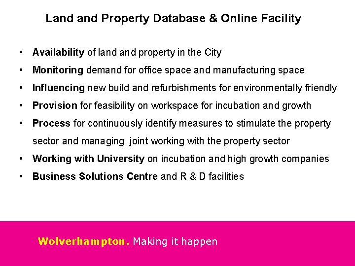 Land Property Database & Online Facility • Availability of land property in the City