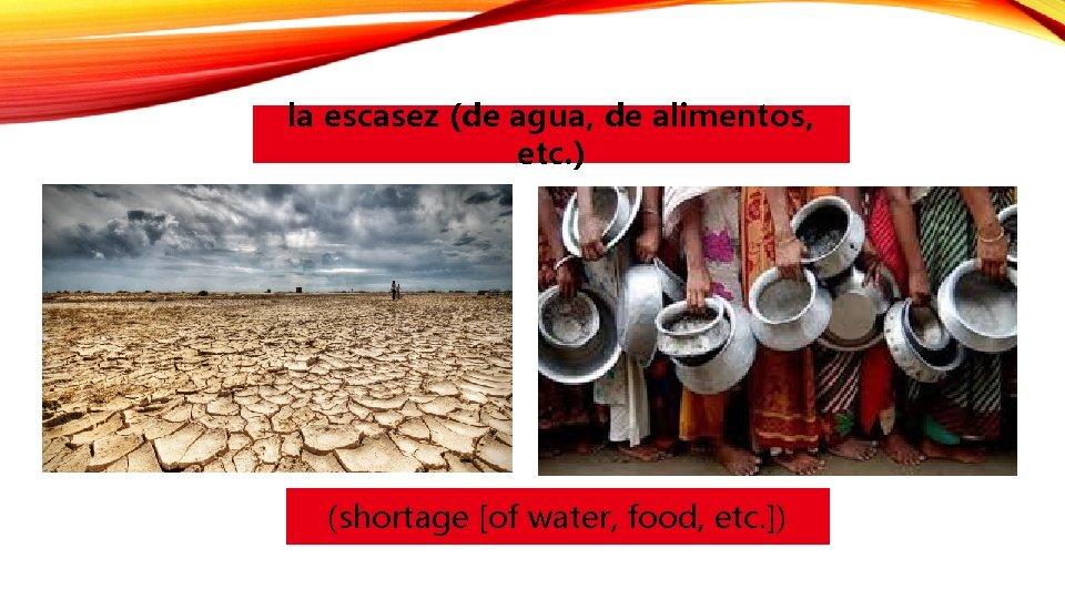 la escasez (de agua, de alimentos, etc. ) (shortage [of water, food, etc. ])