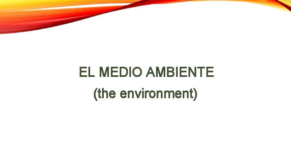 EL MEDIO AMBIENTE (the environment)