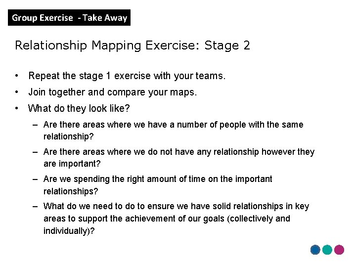 Group Exercise - Take Away Relationship Mapping Exercise: Stage 2 • Repeat the stage