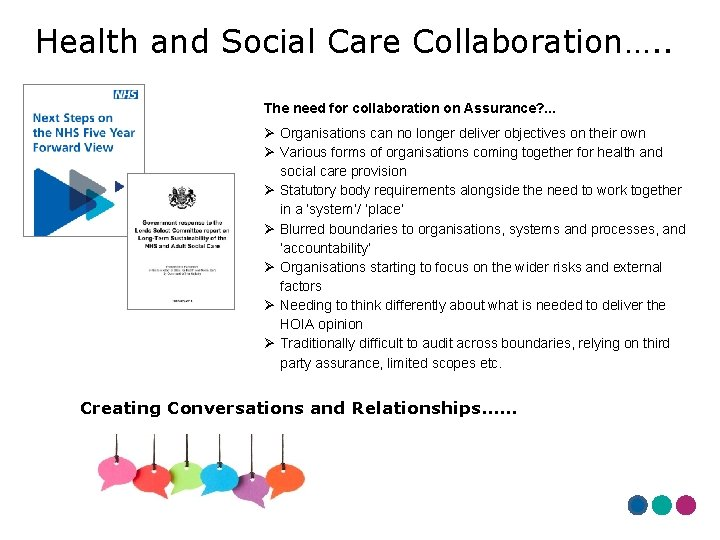 Health and Social Care Collaboration…. . The need for collaboration on Assurance? . .