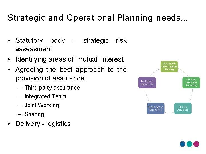 Strategic and Operational Planning needs… • Statutory body – strategic risk assessment • Identifying