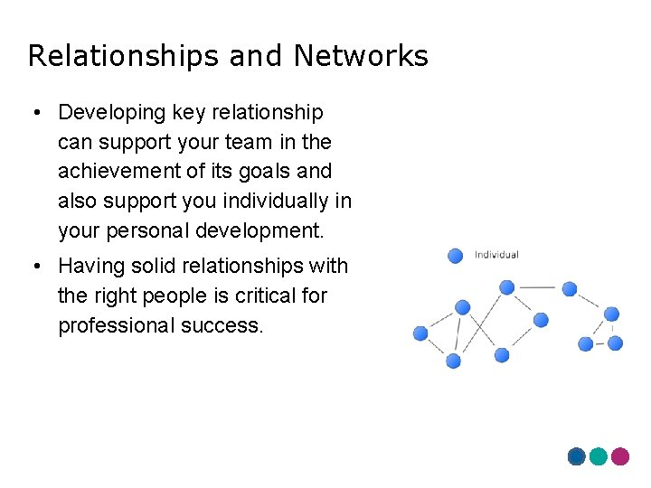 Relationships and Networks • Developing key relationship can support your team in the achievement