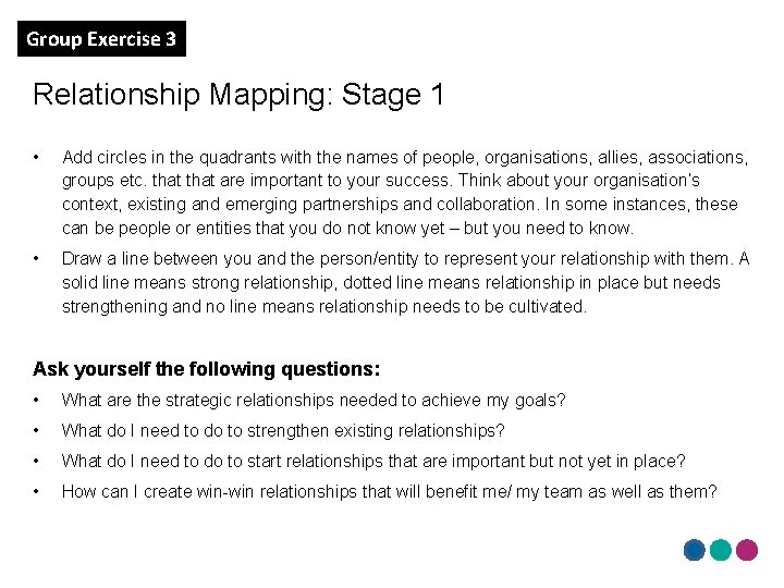 Group Exercise 3 Relationship Mapping: Stage 1 • Add circles in the quadrants with