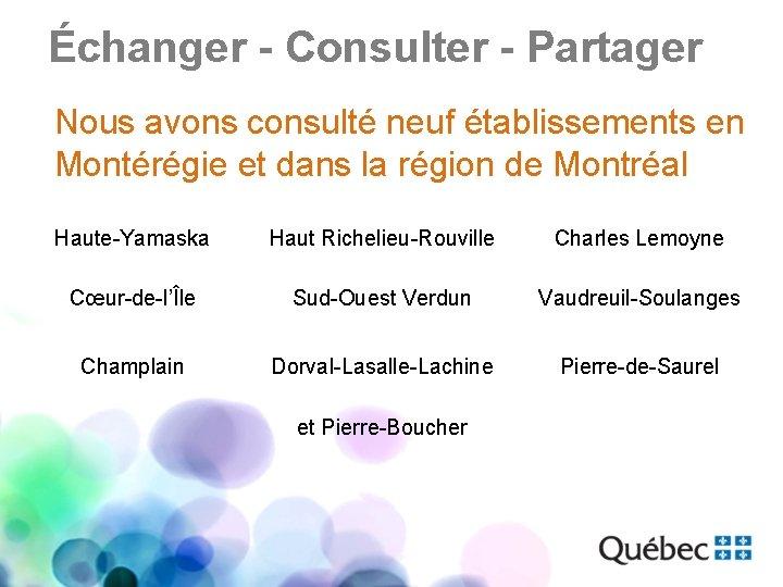 Échanger - Consulter - Partager Nous avons consulté neuf établissements en Montérégie et dans