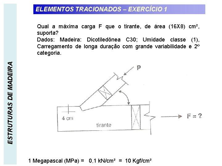 ELEMENTOS TRACIONADOS – EXERCÍCIO 1 ESTRUTURAS DE MADEIRA Qual a máxima carga F que
