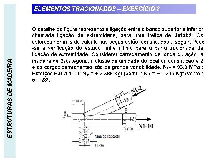 ESTRUTURAS DE MADEIRA ELEMENTOS TRACIONADOS – EXERCÍCIO 2 O detalhe da figura representa a