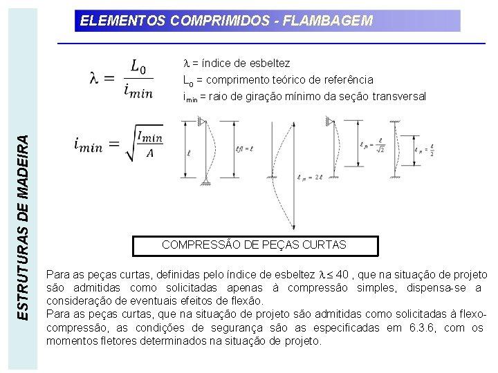 ELEMENTOS COMPRIMIDOS - FLAMBAGEM ESTRUTURAS DE MADEIRA = índice de esbeltez L 0 =