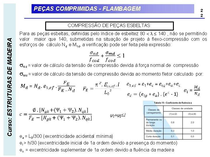 PEÇAS COMPRIMIDAS - FLAMBAGEM 2 2 Curso: ESTRUTURAS DE MADEIRA COMPRESSÃO DE PEÇAS ESBELTAS