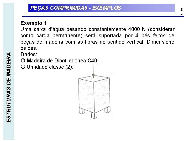 ESTRUTURAS DE MADEIRA PEÇAS COMPRIMIDAS - EXEMPLOS Exemplo 1 Uma caixa d'água pesando constantemente