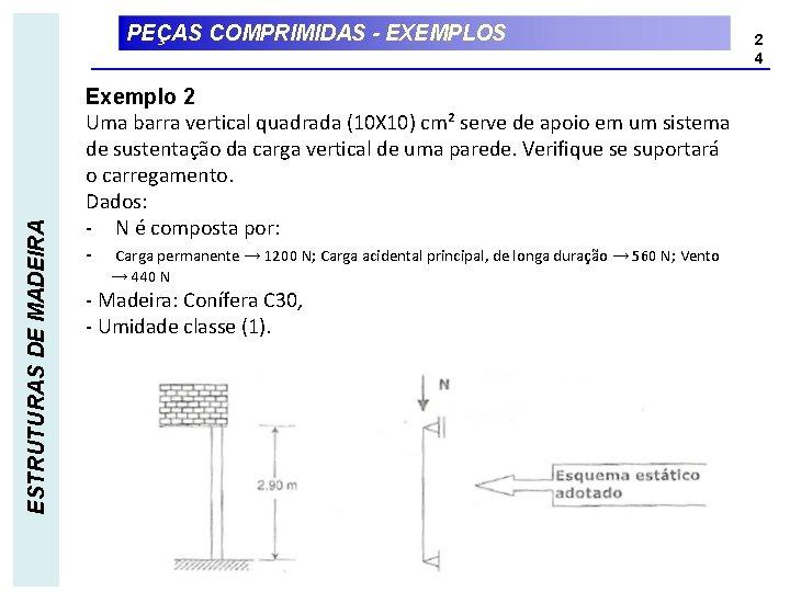 ESTRUTURAS DE MADEIRA PEÇAS COMPRIMIDAS - EXEMPLOS Exemplo 2 Uma barra vertical quadrada (10