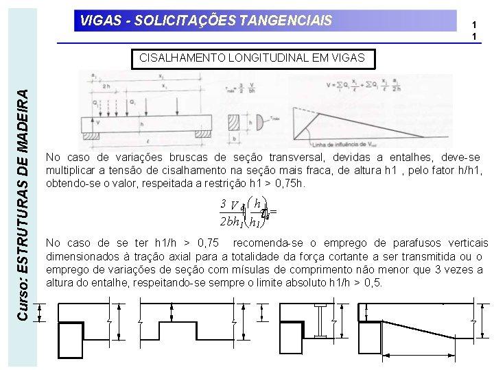 VIGAS - SOLICITAÇÕES TANGENCIAIS 1 1 Curso: ESTRUTURAS DE MADEIRA CISALHAMENTO LONGITUDINAL EM VIGAS