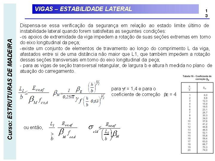 Curso: ESTRUTURAS DE MADEIRA VIGAS – ESTABILIDADE LATERAL 1 3 Dispensa-se essa verificação da