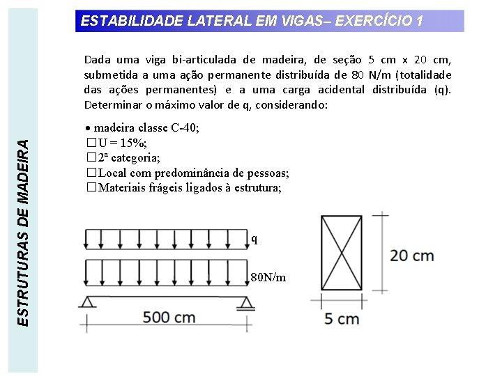 ESTABILIDADE LATERAL EM VIGAS– EXERCÍCIO 1 ESTRUTURAS DE MADEIRA Dada uma viga bi-articulada de