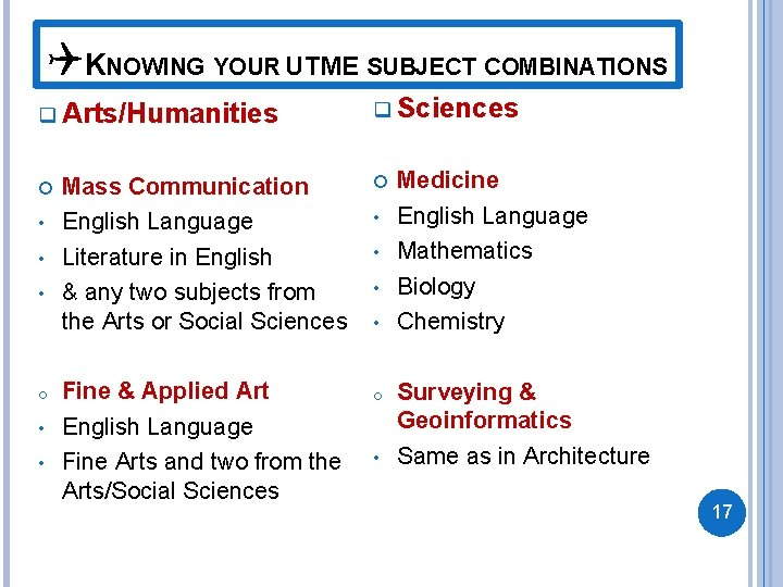 QKNOWING YOUR UTME SUBJECT COMBINATIONS q Arts/Humanities • • • o • • q