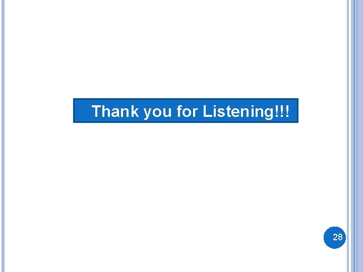 Thank you for Listening!!! 28