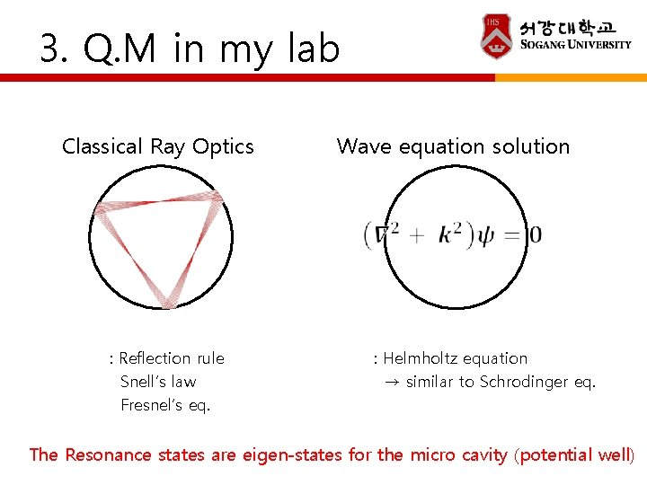 3. Q. M in my lab Classical Ray Optics Wave equation solution : Reflection