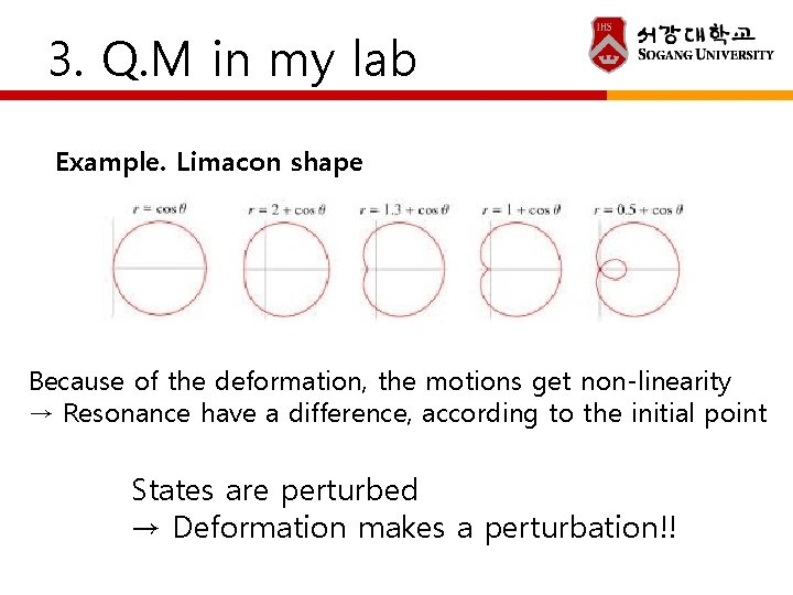 3. Q. M in my lab Example. Limacon shape Because of the deformation, the