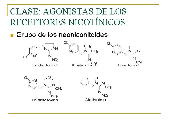 CLASE: AGONISTAS DE LOS RECEPTORES NICOTÍNICOS n Grupo de los neoniconitoides