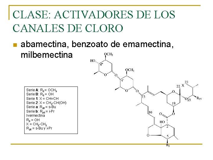 CLASE: ACTIVADORES DE LOS CANALES DE CLORO n abamectina, benzoato de emamectina, milbemectina Serie