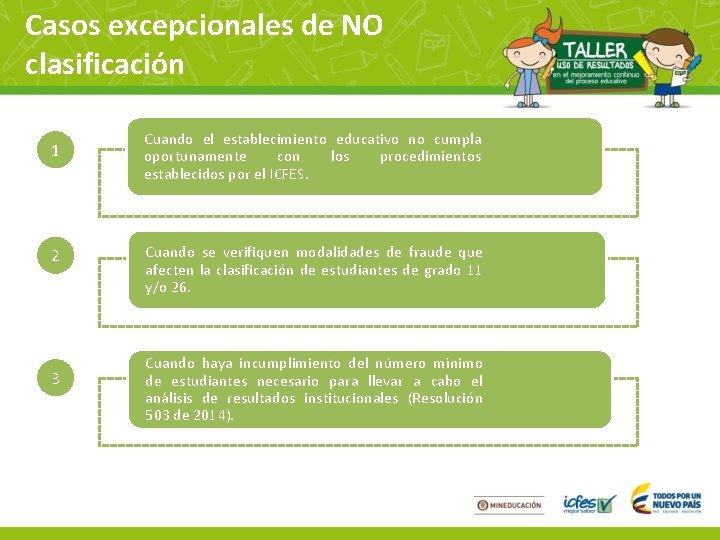 Casos excepcionales de NO clasificación 1 2 3 Cuando el establecimiento educativo no cumpla