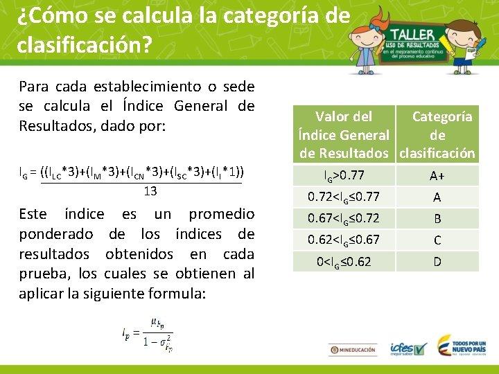 ¿Cómo se calcula la categoría de clasificación? Para cada establecimiento o sede se calcula