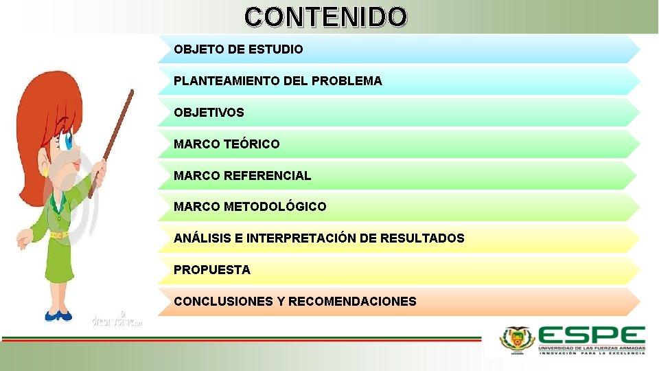 CONTENIDO OBJETO DE ESTUDIO PLANTEAMIENTO DEL PROBLEMA OBJETIVOS MARCO TEÓRICO MARCO REFERENCIAL MARCO METODOLÓGICO