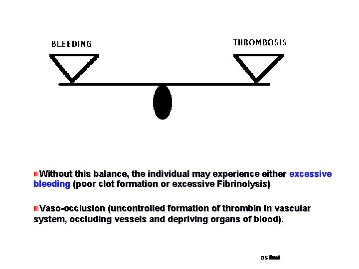 Without this balance, the individual may experience either excessive bleeding (poor clot formation or