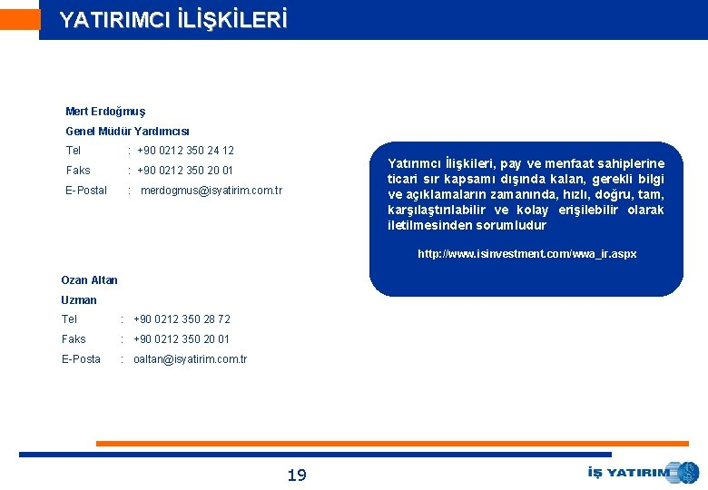 YATIRIMCI İLİŞKİLERİ Mert Erdoğmuş Genel Müdür Yardımcısı Tel : +90 0212 350 24 12