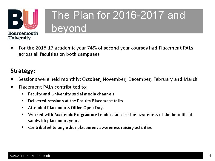 The Plan for 2016 -2017 and beyond • For the 2016 -17 academic year